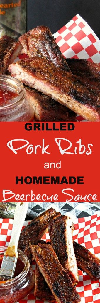 Grilled pork ribs: tender with just the right amount of give when your teeth hits them + smoky, sweet-spicy BEERbecue sauce. Ideal for Father's Day and all summer long.