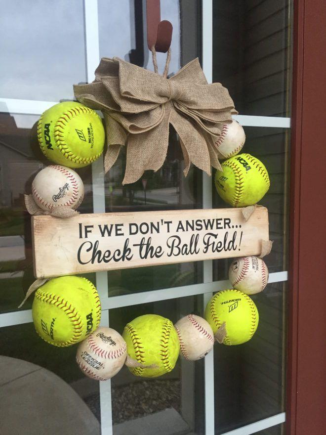 Love this - Baseball AND Softball Wreath