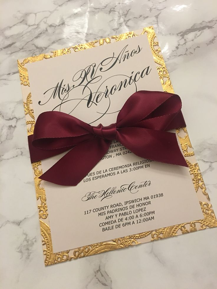 Sweet 15 invitation card printed on double layer blush cardstock + gold lasercut and finished with a beautiful burgundy silk ribbon   #sweet16invitationcard