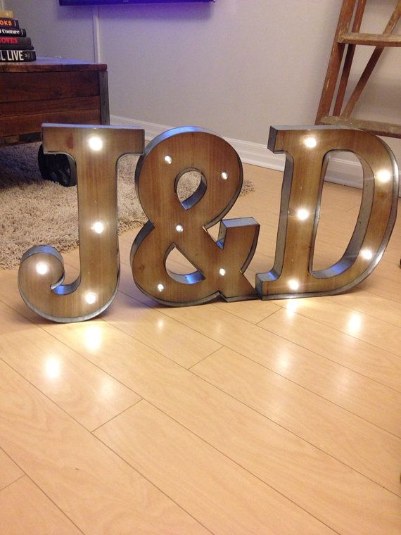 Freestanding Initials Wooden Rustic LED Light by LoveLetterLights