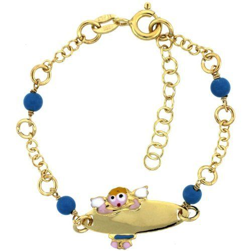 Sterling Silver Rolo Link Baby ID Bracelet in Yellow Gold Finish w/ Blue Turquoise Color Beads & Angel Charm (5-6 inch) Sabrina Silver. $24.95