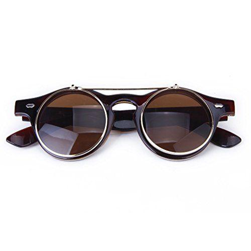 Gleader Lunettes Gothique Style de Steampunk Lunettes de Soleil Vintage pour Cosplay (brun fonce) CmlN1oX