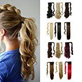 "Wrap Around Synthetic Ponytail Clip in Hair Extensions One Piece Magic Paste Pony Tail Long Wavy Curly Soft Silky for Women Fashion and Beauty 17"" / 17 inch (light ash brown mix bleach blonde) review"