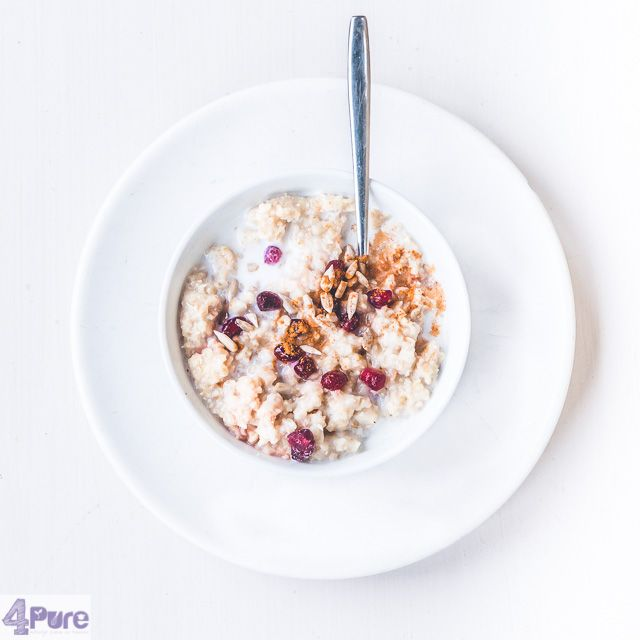 Oatmeal with pomegranate  - English recipe - A delicious bowl of oatmeal with fresh pomegranate, sunflower seeds and cinnamon. A healthy breakfast with a delicious flavor. With this breakfast you will make it through the day!