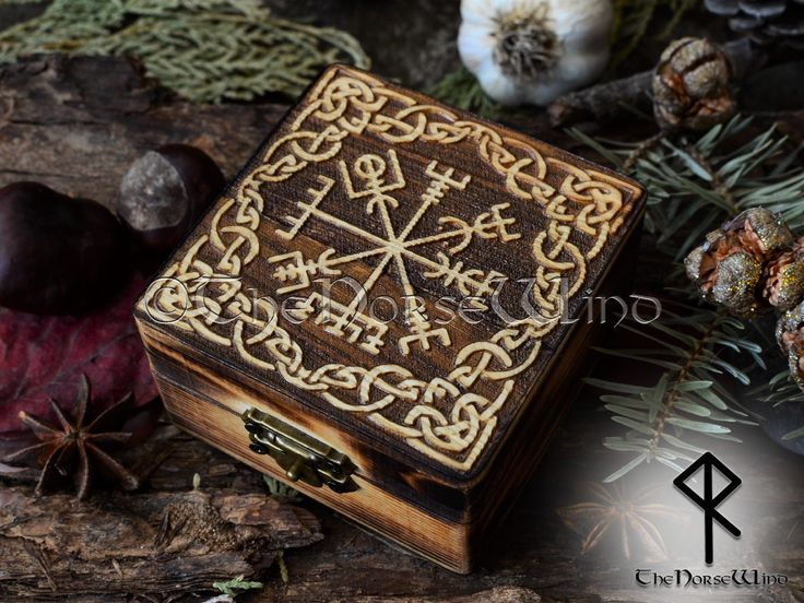 Vegvisir Carved Wooden Box Viking Runes Chest Norse Wicca Altar Viking Compass N…   – Viking Furniture