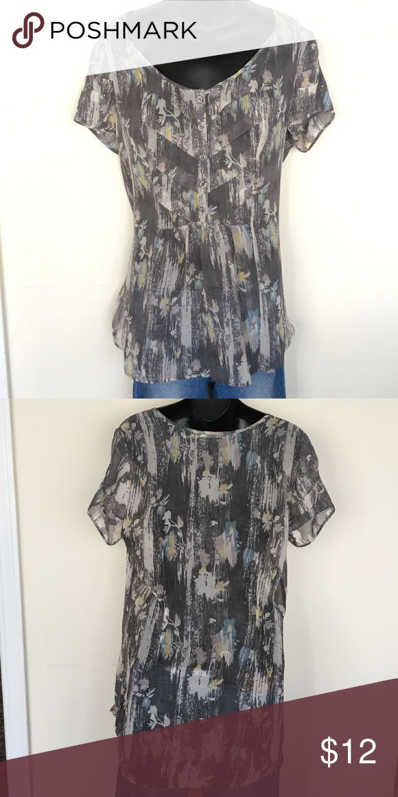 Anthropology Blouse Excellent condition Kimchi Blue semi sheer blouse.  Loaded with interesting detail from the front pledging to the gathering around sleeve.  Grey, cream/white, lavender, yellow & blue.  I purchased for a specific event and passing on as my closet is so so embarrassingly full.  Smoke free, pet free home. Anthropologie Tops Blouses