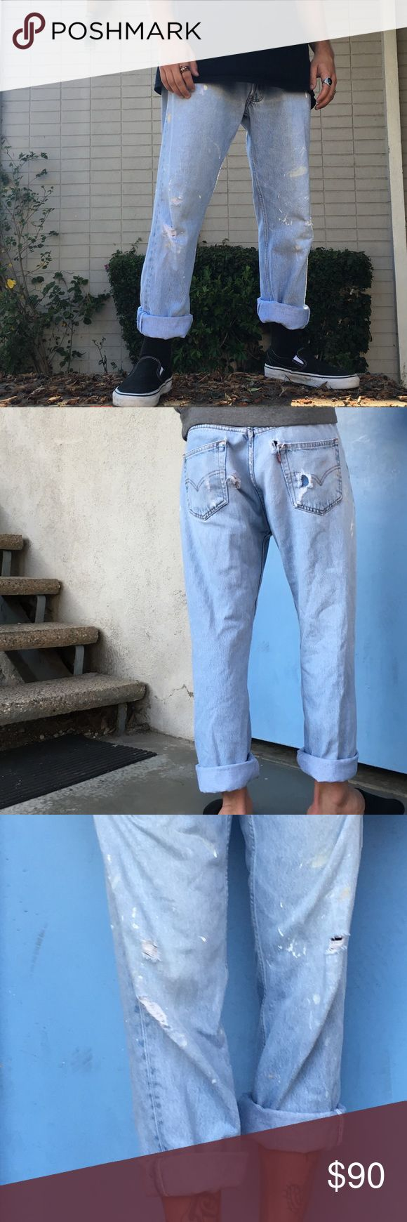 """RARE! Vintage distressed Levi's they are worth a lot more than my listed price. I've been on many journeys to find a pair exactly like this for myself but alas, found them for men - could be unisex depending on size and desired fit. Button-up fly. 32x30 11"""" rise. Cuffed them for 'aesthetics' but they have a great bottom originally hemline. Straight leg. Shown on two different models both 32"""" waist but heights are 5'6 and 5'10"""" - they're so not some pair an 'artist' messed with - 100% vintage…"""