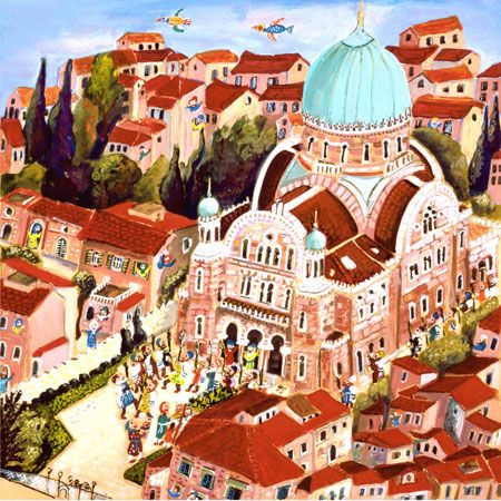Sukkot in Florence by Michal Meron. Painting shows The Great Synagogue of Florence (Tempio Maggiore). Built between 1874 and 1882.