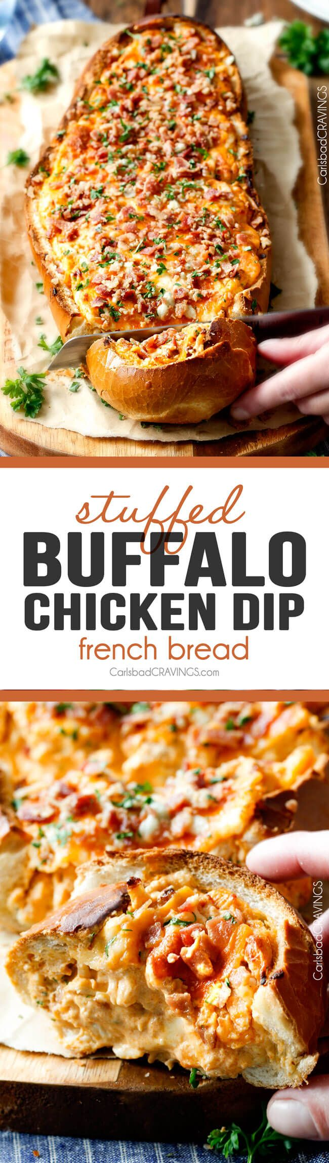 Mega flavorful Buffalo Chicken Dip Stuffed French Bread is your favorite decadent creamy, cheesy dip baked right into the loaf! Crazy delicious side or EASY crowd pleasing appetizer perfect for parties or game day!  My friends always beg me to make this! via @carlsbadcraving
