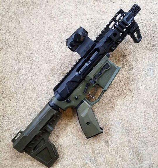AR Pistol in OD Green with red dot   Gun Stuff I Like