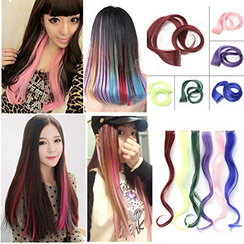 1pcs extension cheveux colore rajout clip perruque cosplay meches rainbow boucle bleu your 1 - Perruque Colore