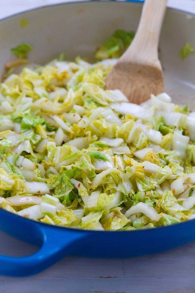 When you need a quick side dish, this 5-minute Spicy Stir-Fried Cabbage comes in handy! 54 calories and 1 Weight Watchers SmartPoint