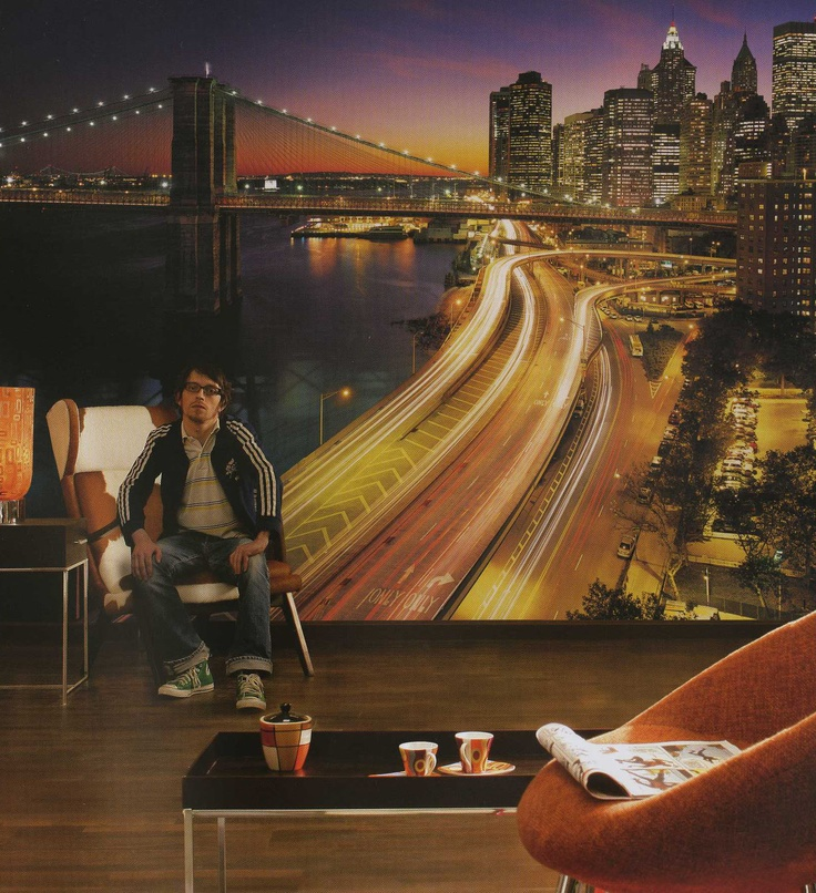 WHAT A VIEW!  Manhattan at night mural http://muralwallpaper.com. 8 ft 4 in x 12 ft 1 in  8 panels, paste included  the hustle of New York at sunset $132.95