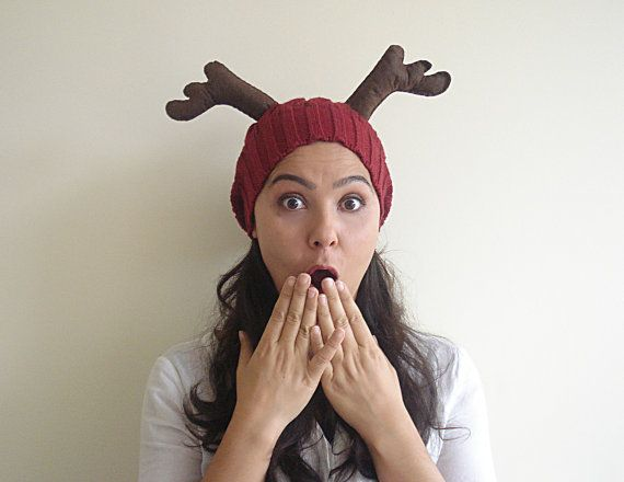 LIMITED Deer Hat, Christmas Gift, Burgundy Hat, Cherry, Slouchy Hat, Special Gift, Xmas Gift, Gift For Her, Gift For Him, Antler, Fun, Wool    Ho ho
