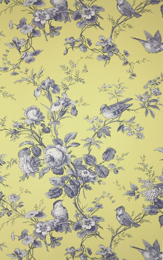 Isabelle Floral Toile Wallpaper A floral toile wallpaper featuring birds perched in flowing rose branches. In blue on yellow.