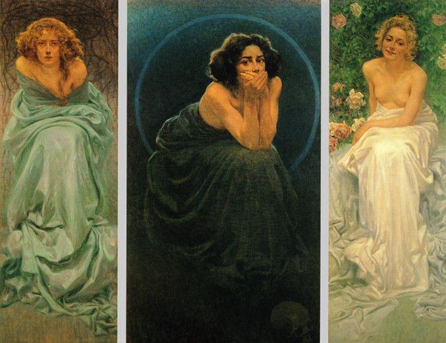 Giorgio Kienerk, L'enigma umano(trittico) 1900. Il dolore- Il Silenzio- Il Piacere