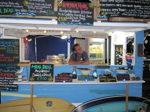At the London Olympics 2012.The Café Môr Mobiler, Pembrokeshire, Wales. Won Overall Favourite at the British Street Food Awards 2-11. Mobile seafood shack started by Jonathan Williams.  Fresh SeaShore wraps filled with sustainable fish and seafood, as well as local and foraged produce from the Pembrokeshire seaside, wrapped in homemade laverbread made from seaweed. Best Drink Street Food award: La Bomba, tomatoes, lime, honey, olive oil, Tabasco, shellfish.
