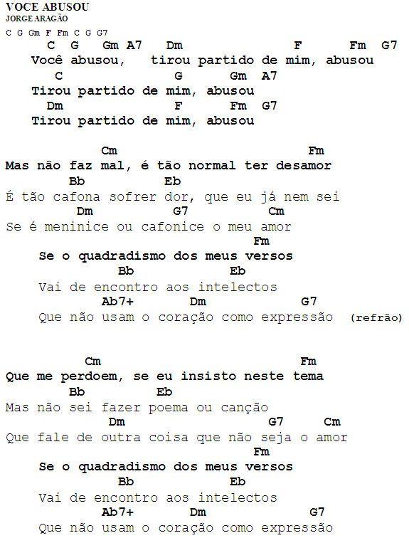 MEU CAVAQUINHO: Cifra - Você Abusou - Jorge Aragão
