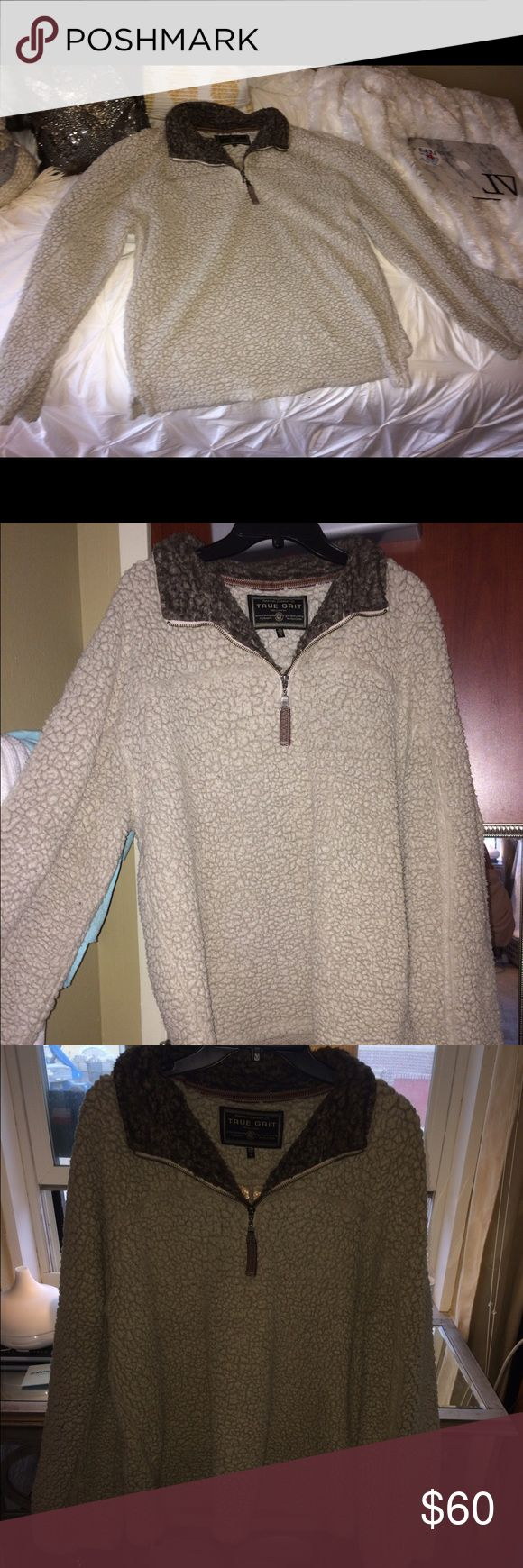True grit cream colored pull over This true grit jacket is so soft! A nice cream color looks great on everyone. Size medium! Worn a few times. Rarely ever gets cold where I live. Super comfortable versatile pull over! True Grit Jackets & Coats