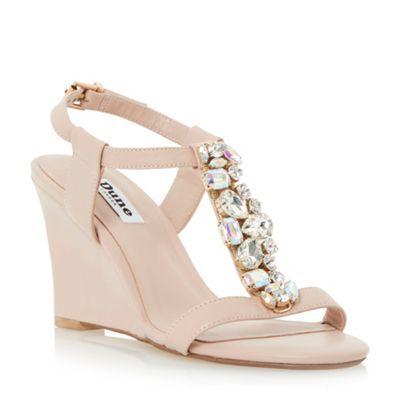 Dune Pink jewelled t-bar wedge sandal- at Debenhams.com