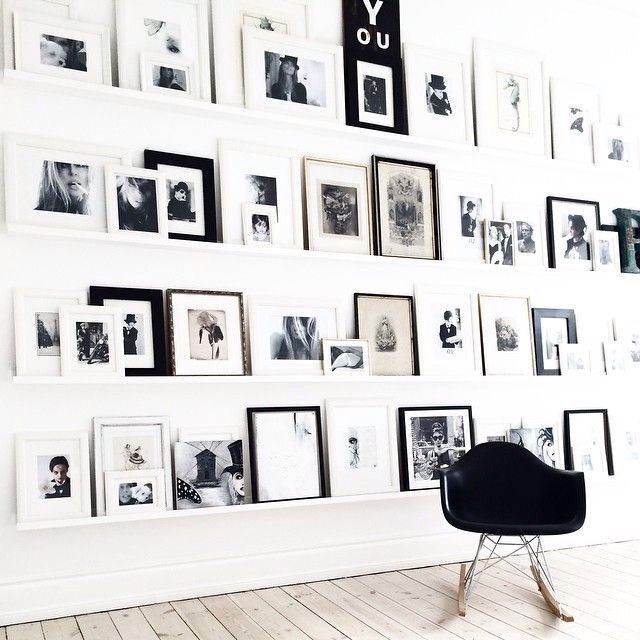 SWEET LEDGE GALLERY. So simple and love the color of the ledge being the same as the wall color. I really makes the photographs the main focus of the wall. #memories #photos #wallart