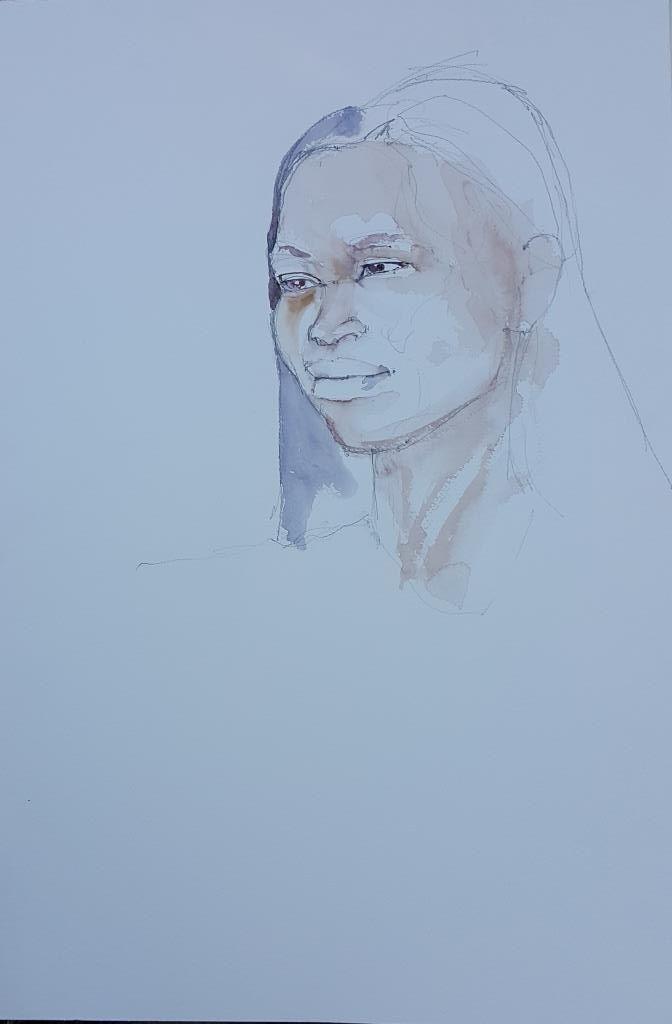 Emma 20 minute watercolour sketch #watercolour on Bockingford 560x380mm #portrait