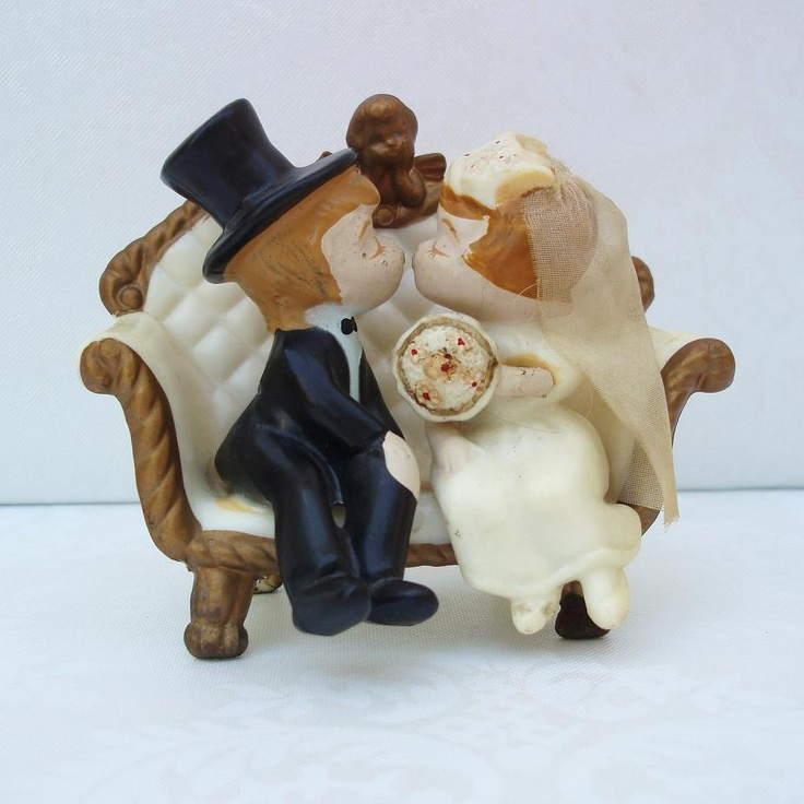 Vintage Wedding Cake Topper:  Vintage Cake Topper /  Bride and Groom Cake Topper / 1970. $22.00, via Etsy.