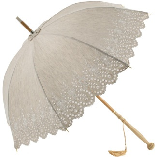 Amelie - UVP Beige Embroidery Anglaise Parasol by Pierre Vaux