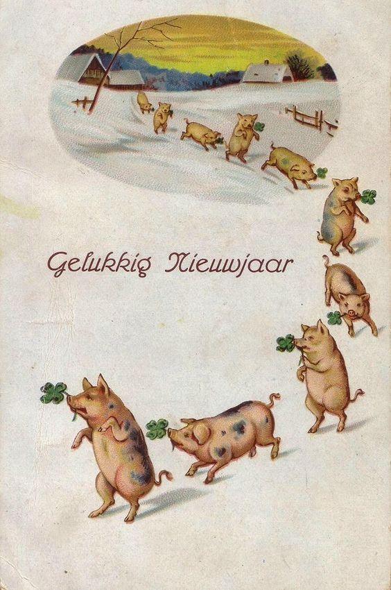 Рождения, дореволюционные рождественские открытки со свинками