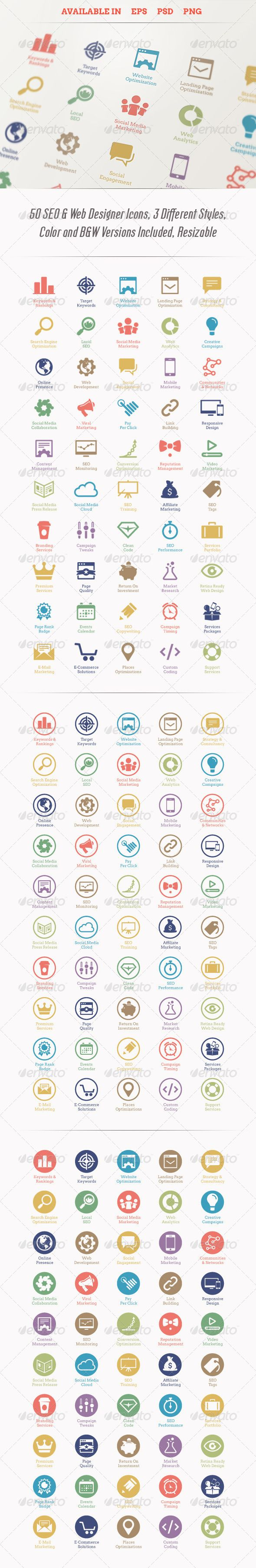 Modern SEO Services Icons