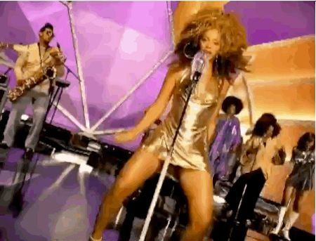 "When Beyoncé shimmied in this iconic gold halter dress in 2003's ""Work It Out."" 