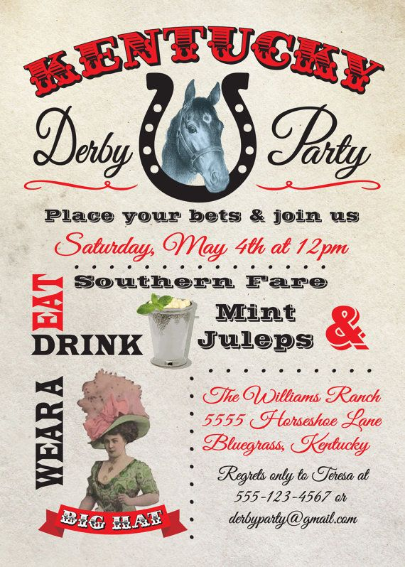 Kentucky Derby Party Poster Invitation by McBooboos on Etsy