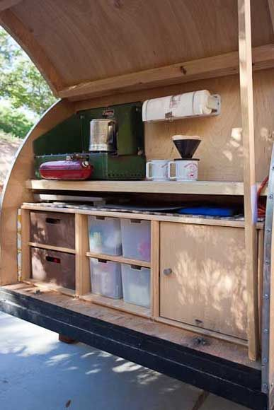 Best 25 teardrop trailer ideas on pinterest teardrop for Camp trailer kitchen designs