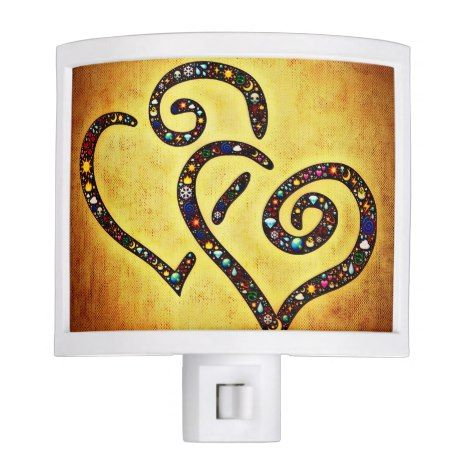 Lovely Heart Yellow Night Light click/tap to personalize and buy. #valentinesday #valentine #cardmaking #cardesign