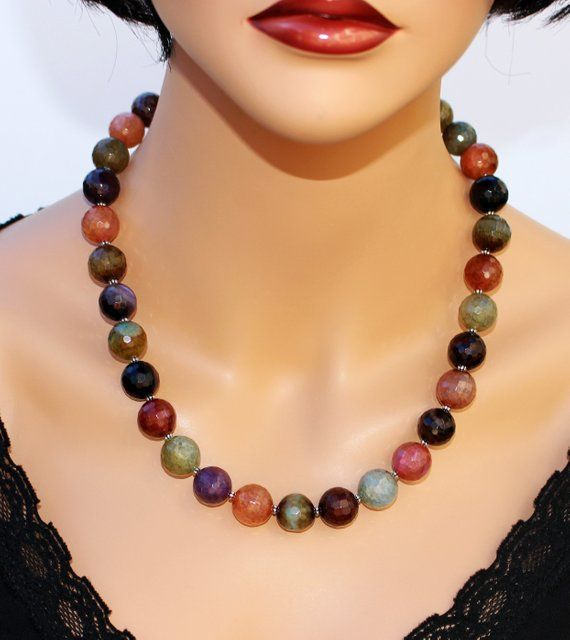 Big Bold Chunky Multi Farben Achat Anweisung Halskette Genuine Gemstone Classy Stilvolle Elegante Schmuck Hochzeit Abend Artisan Halskette Geschenk