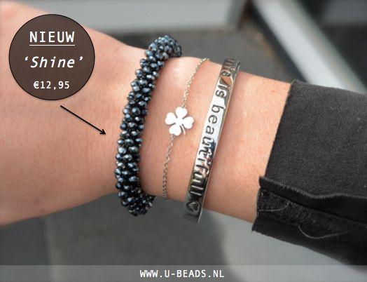 NIEUW! Wauw wat een pareltje en wat een musthave voor de naderende feestdagen! Ook als eyecatcher doet deze armband het erg goed.  Shop hem hier --> http://www.u-beads.nl/a-42226425/nieuw/shine/