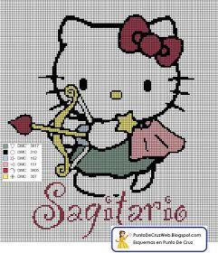 Punto De Cruz: Horóscopo Sagitario De Hello Kitty