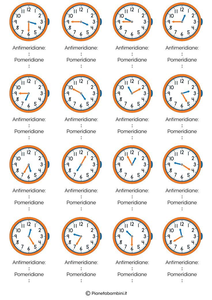 I bambini della seconda classe della scuola primaria possono imparare a leggere l'orologio grazie a queste schede didattiche con esercizi da stampare