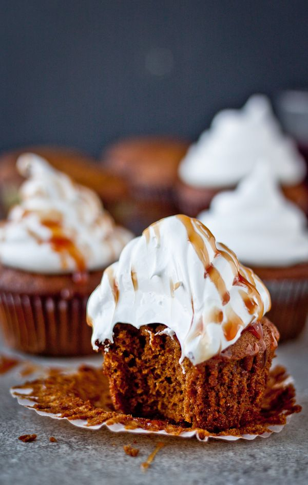 Gingerbread Cupcakes with Marshmallow Frosting + Pomegranate Caramel - Blogging Over Thyme
