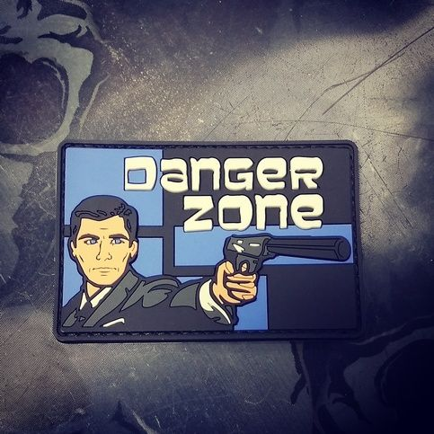 """Danger Zone PVC morale patch  2""""x3"""" hook and loop backed PVC patch"""