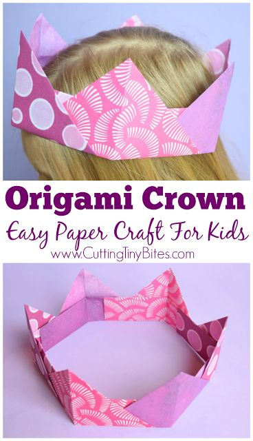 Origami Crown- Easy Paper Craft For Kids. Wonderful way for kids to learn Japanese paper folding, suitable for kindergarteners or early elementary. Great for fine motor development!