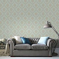 Graham & Brown - Gold & Teal Jacquard Wallpaper