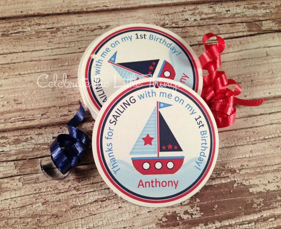 12 SAILBOAT Favor Tags or Stickers : Sail Boat, Personalized, Birthday or Baby Shower