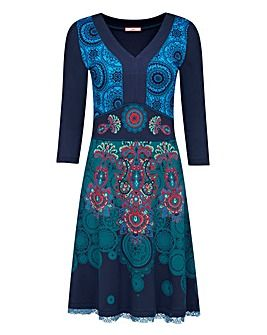 Joe Browns Live Love Laugh Dress  Chosen for neckline, shape, and the vertical lines created by the pattern.  Fun and funky