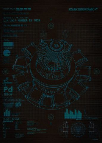 Schematics of the Stark arc reactor from Ironman