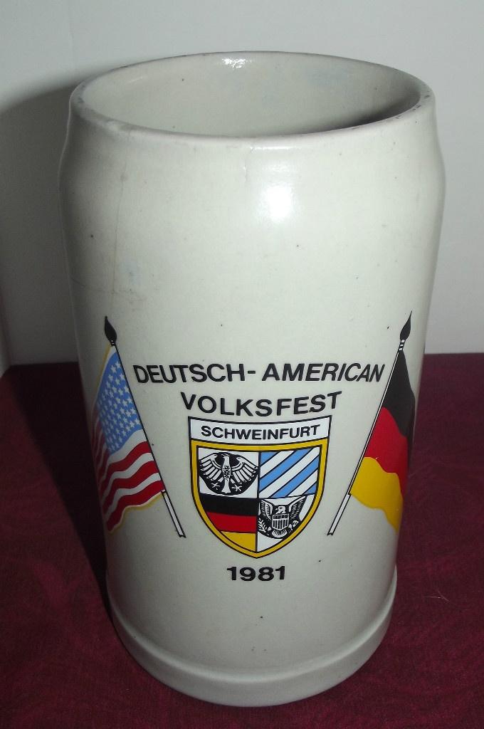 Sold!!  Vintage 1981 German Beer Stein Deutsch-American Volksfest Schweinfurt 1 Litre