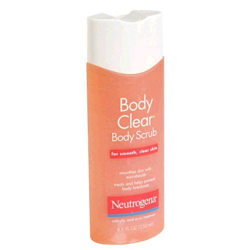 Neutrogena Body Clear Body Scrub for Smooth, Clear Skin, 8.5 Ounce (Pack of 3) by Neutrogena. $16.77. Treats and help prevent body breakouts. Non-comedogenic (won't clog pores). Oil-free. Salicylic Acid acne treatment. Dermatologist recommended. Body Clear Body Scrub is a refreshing and clean-rinsing body scrub that treats and even helps prevent body breakouts. This effective yet gentle scrub contains Salicylic Acid, a proven acne-fighting ingredient. It cleans deep into pores...