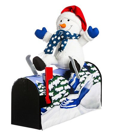Another great find on #zulily! Snowman Skiing Magnetic Mailbox Cover #zulilyfinds