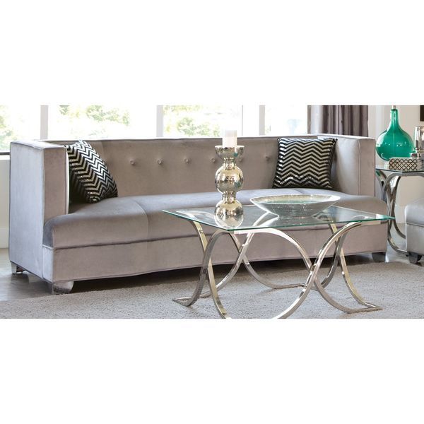 Tufted Silver Velvet Sofa