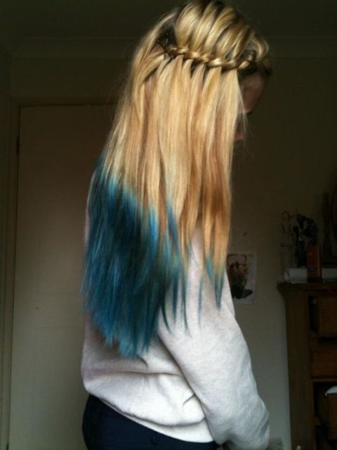 Waterfall braid blue tips